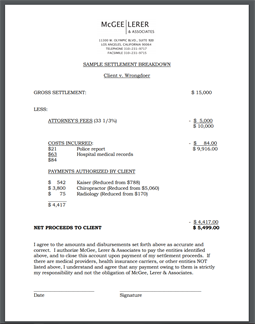 McGee, Lerer & Associates settlement breakdown document
